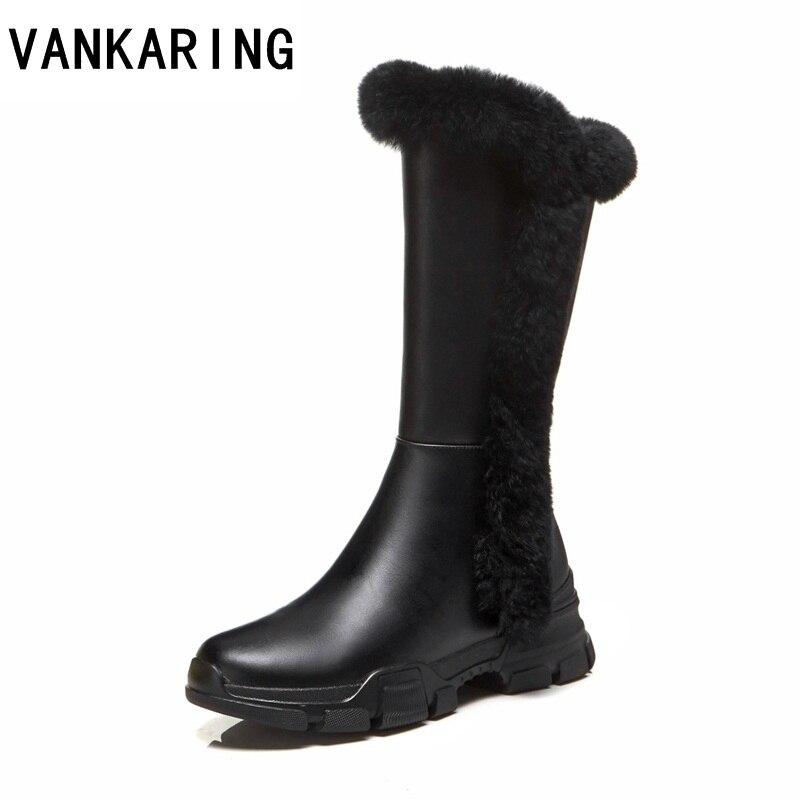 866adde4177e1 Vraie Vankaring De Chaud Neige Black Slip Automne Au forme Mode Cheville  Chaussures Plate Hiver Sur Bottes Femmes ...
