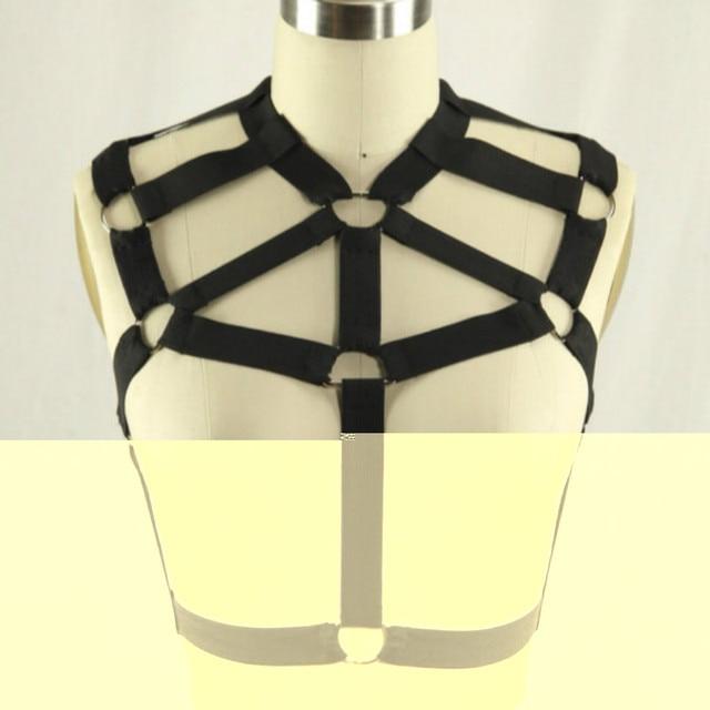 New Black Elastic Goth Bound Cage bust bondage Top  O ring female chest bondage lingerie bra retail
