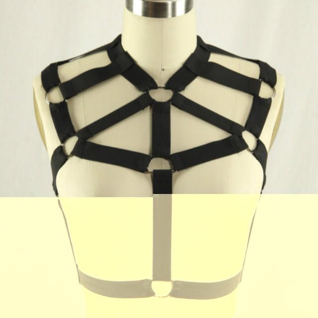 Nueva Negro Elástico Goth Obligado Jaula busto bondage anillo O servidumbre ropa interior sujetador pecho femenino Superior al por menor