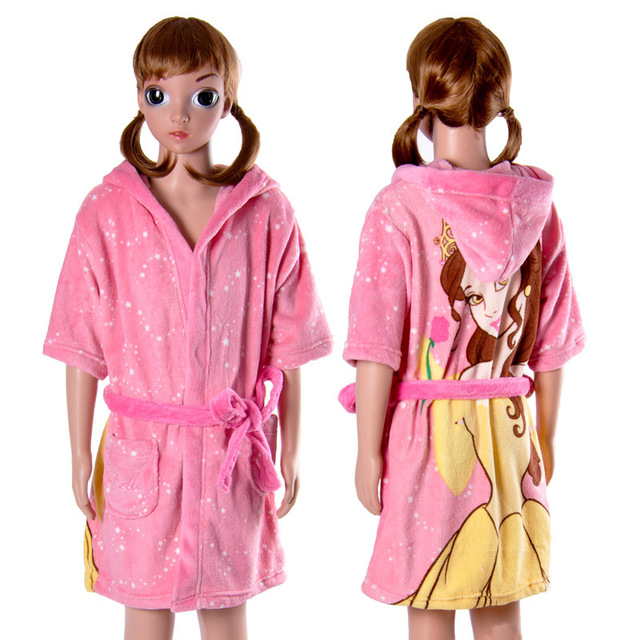 Children Girls Pink Bath Robe With Hood Soft Coral Fleece Cartoon ...
