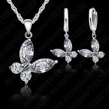 JEXXI Romantic Butterfly Shape Fashion 925 Sterling Silver Pendant Necklace Hoop Earrings Set For Women Bridal Wedding Jewelry