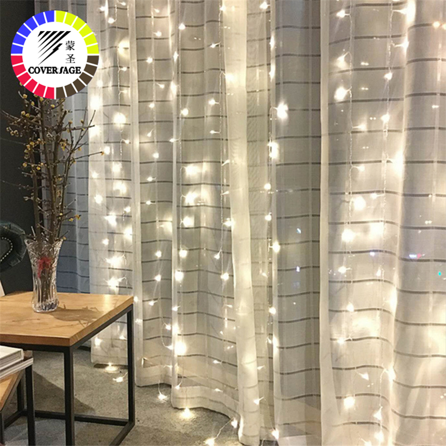 Coversage Fairy Curtain Garland Light 3x3M 3x2M 4.5x3M 2x2M Christmas Decorative LED String Xmas Party Garden Wedding Lights