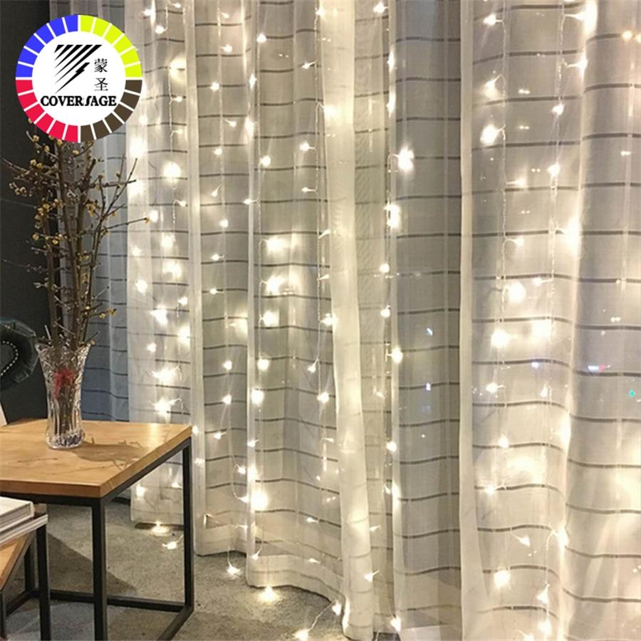 Coversage Fairy Curtain Garland Light 3x3M 3x2M 4 5x3M 2x2M Christmas Decorative LED String Xmas Party Garden Wedding Lights