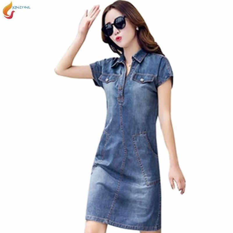 Летние джинсы большого размера, весеннее повседневное джинсовое платье с коротким рукавом и v-образным вырезом, модное женское тонкое джинсовое платье с карманами 4XL 5XL G973