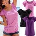 2016 Новые Моды для Женщин Лето Случайные Свободные Топ Блузка С Коротким Рукавом Дамы Повседневная Топы Футболки