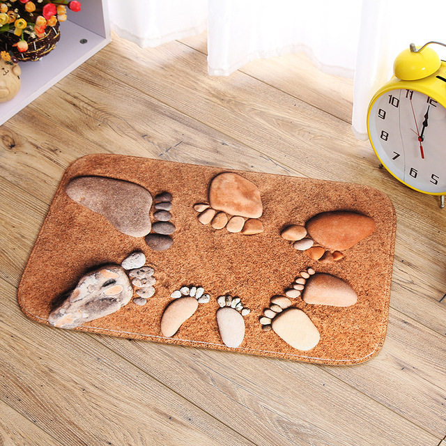 Cartoon Fashion Cute Novelty Realistic Footprint Non Slip Warm Feet Cotton Absorbent Children Bath