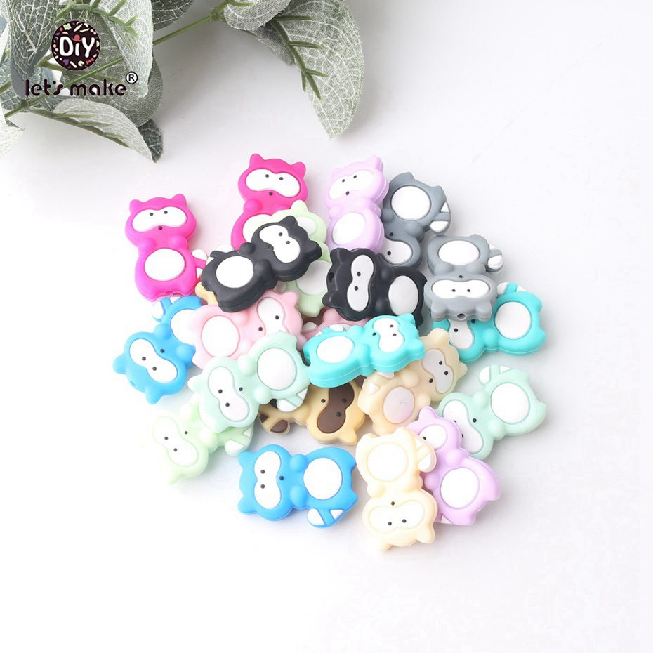 Let s Make 100pc Wholesale Small Silicone Raccoon Beads Food Grade Silicone Teether Silicone Teething Beads