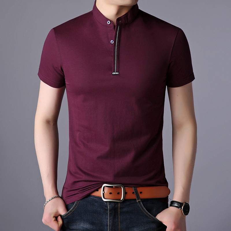 2019 New Fashion Brand Designer Summer   Polo   Shirt Men Solid Color Slim Fit Short Sleeve Cotton Poloshirt Casual Men's Clothing