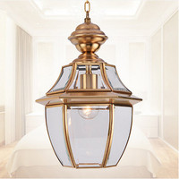 Euopean Hexagonal Design Copper Crystal Glass Pendant Lights Handwork Soldering E27 LED Lamp For Porch Pavilion
