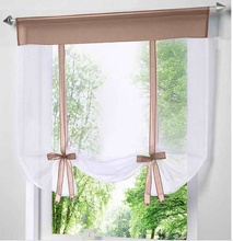 Modern Short Window Kitchen Tulle Voile Curtain for Living Room Divider Home Transparent Sheer Curtain Drapes Window Voile cheap Flying Perspective Upper Open Built-in YF23 Pleated Flat Window Europe Woven Office hotel Cafe 100 Polyester Ladder Rope