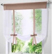 Современные короткие окна кухня тюль вуаль занавес для гостиная делитель дома Прозрачный Sheer шторы вуаль