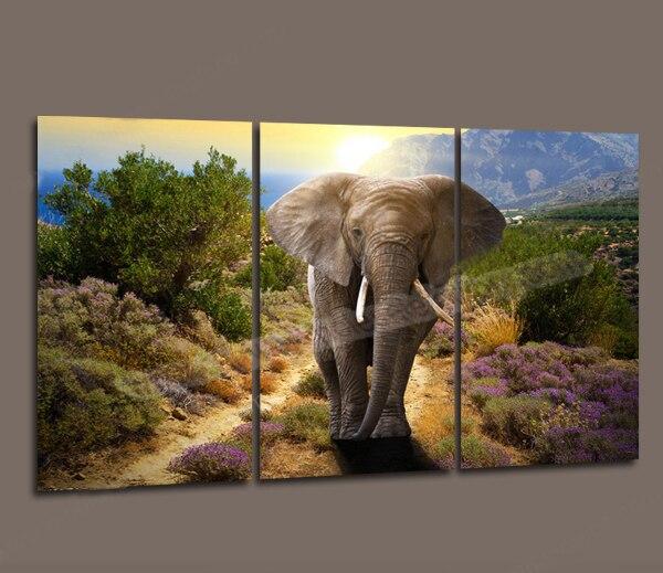 Wholesale 3 Piece Canvas Art Modern Oil Elephant Painting