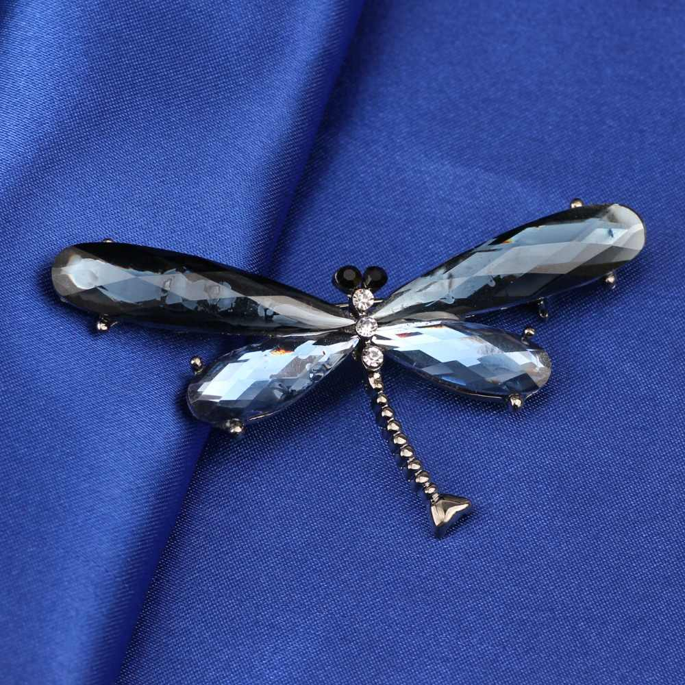 Bonsny合金クリスタルブルートンボのブローチブローチピンスーツスカーフ装飾新しいファッション昆虫動物ジュエリー
