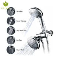 High Power Full Chrome 5+5 Outlet Mode Luxury Combo 2 in 1 Shower Head & Handheld Shower Head Faucets Bathroom Shower Set
