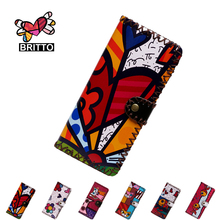 BRITTO 2016  PU Leather Wallet For Coin & Cash Girl Long Handmade Money Clips Ladies Graffiti Hasp Clutch Purse Female Money Bag