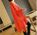 Autumn 2017 Irregular Bat Sleeve Loose Knited Sweater Women Solid Color O-Neck Sexy Long Pullover Thin Sweater Q1573
