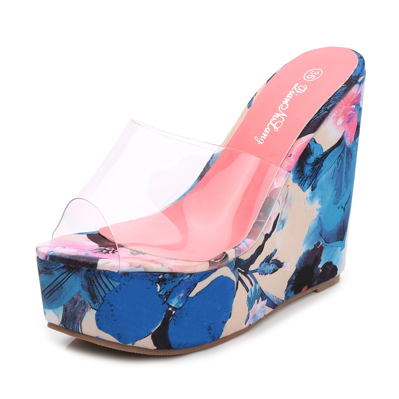 New Transparent Women Wedges Sandals Fashion Printing Slip-on High Heels Shoes Sexy Platform Flowers Slippers Woman Casual Shoes fashion sexy transparent sandals set auger chain ultra slim heel sandals 12 appeal runway show shoes on sale