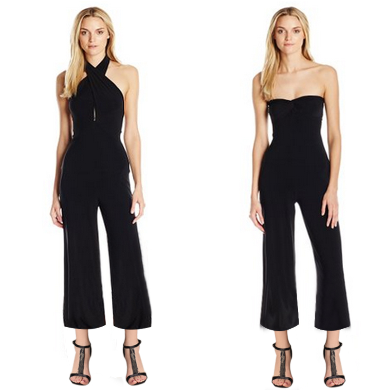 GZDL New Style Hot Sale Womens Strapless Backless Halter Pure Black Color Modal Empire Waist Jumpsuit Overalls CL3063