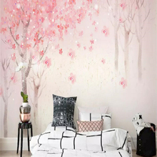 Decorative wallpaper Hand-painted style watercolor cherry blossoms background wall