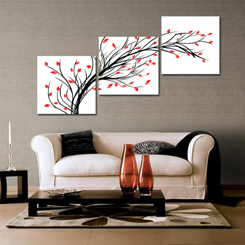 Aliexpress Com Buy Modern Abstract Oil Painting Wall Pictures For Living Room New House Decoration Art Black Tree Red Leaf Decor 3 Panel No Framed From