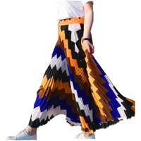 New Summer Elegant A Line Long Skirt Faldas Mujer Women High Waist Long Maxi Pleated Skirt Saias Skirts