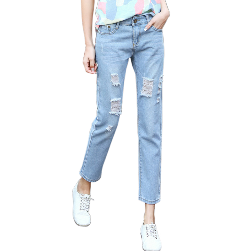 Plus Size 5XL Spring New Women Jean Pants Light Blue Casual Bleached Hole Straight Loose Denim Jeans Trousers Ripped Mid Waist