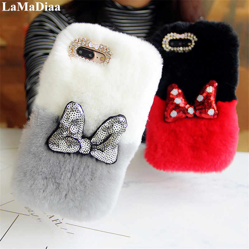 Cute Bowknot Fluffy Rabbit Hair Fur Case For Xiaomi 8 9 SE 5S 5X 6X MAX Redmi 6A 4X Note7 6 5A Case Warm Bling Soft Phone Case