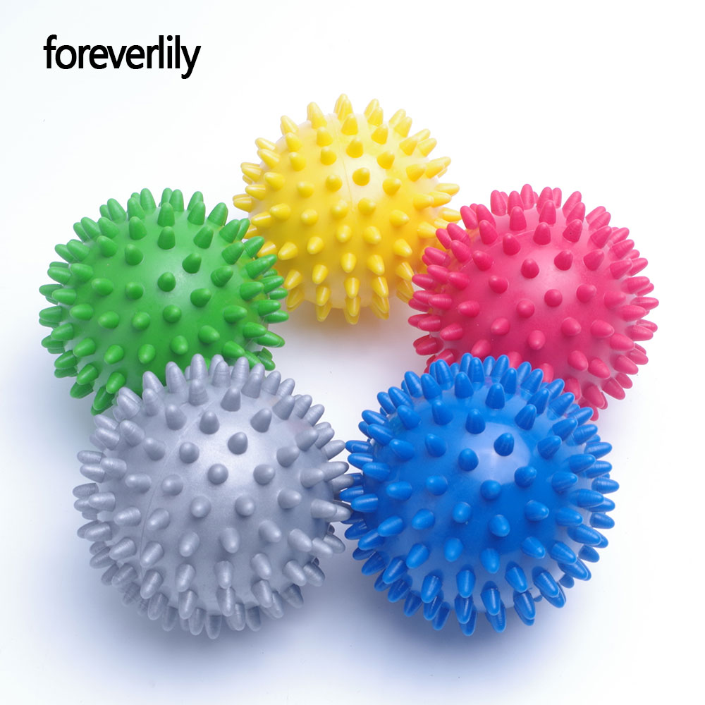 foreverlily 7cm Footful Spiky Massage Ball Trigger Point Sport Fitness Hand Foot Pain Relief Gray Green Yellow Red Blue Choose