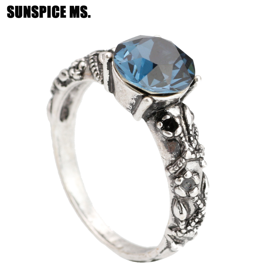Bohemia Ethnic Engagement Ring For Women Antique Silver ...