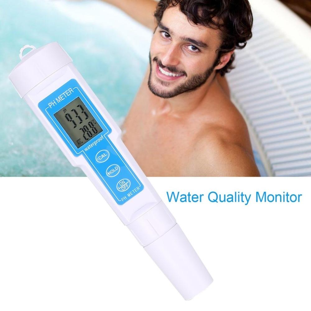 Protable lcd 디지털 ph 미터 0-14ph 펜 수족관 수영장에 대 한 전압 온도 테스터 수질 모니터 수경 법