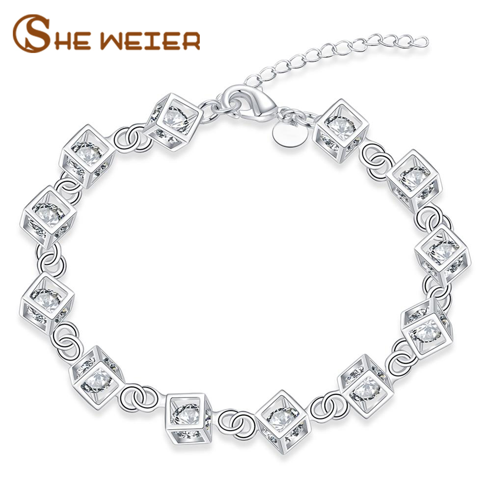 SHE WEIER Charms Chain Geometry Bracelet Silver Jewelry Women Femme Friendship Zircon Bracelet and Bangles Acessories Bilezik