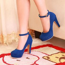 Fashion Sexy Women Pumps Ankle straps Princess Thick Heels Spring Women's single shoes High Heels Platform Round Toe Shoes V739