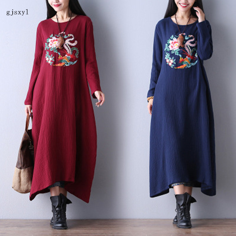 autumn new national wind large size women loose cotton embroidery flower round neck long sleeve was thin pregnant women dre