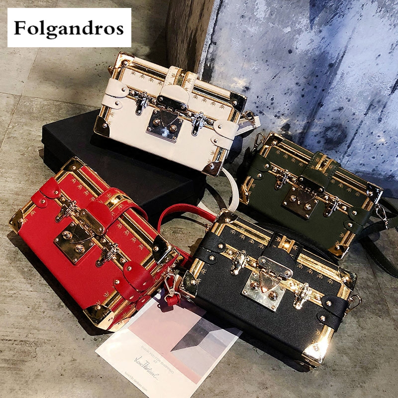 4Color New Fashion Rivet Box Shape Crossbody Bag for Women High Quality Shoulder Bag Female Evening Party Clutch Bags Sac A Main