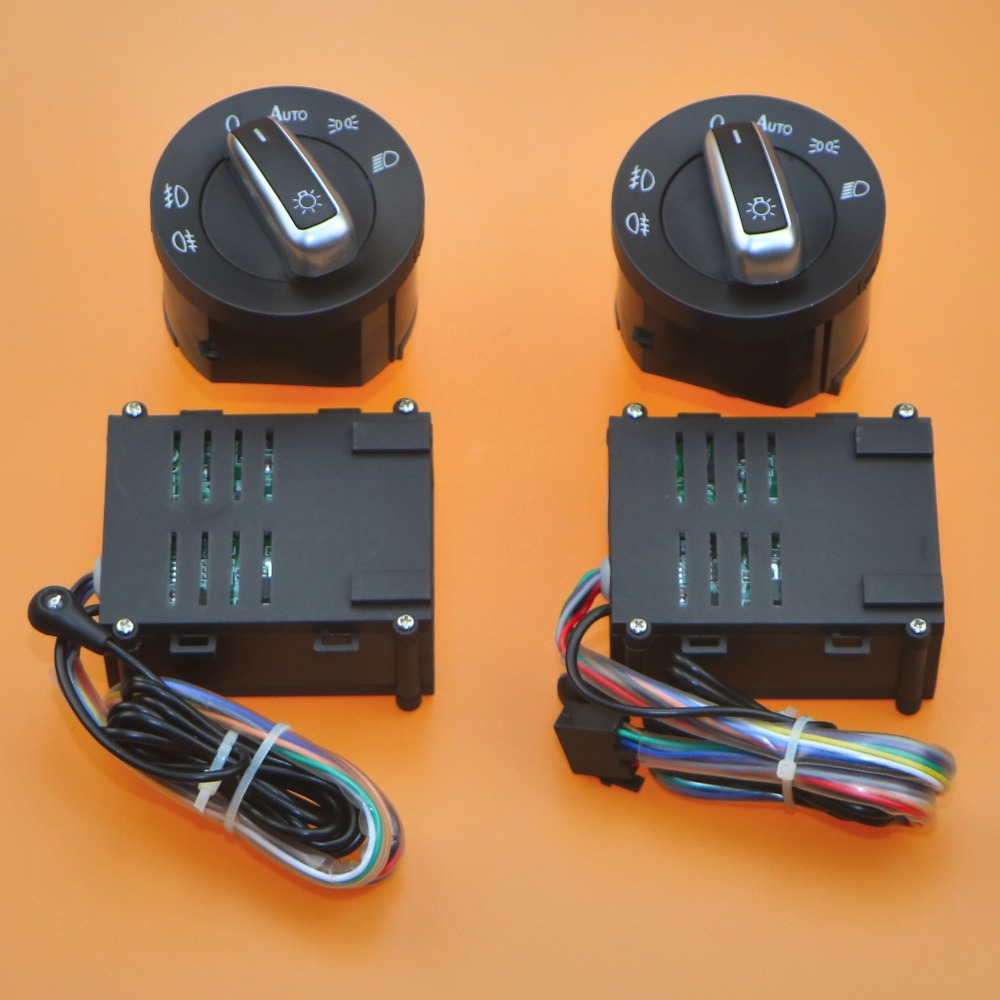 цена на 2 Set Car lights switch + chrome auto sensor light for VW Passat B5 Bora Polo Golf 4 new Jetta Beetle 5ND 941 431 B 5ND 941 431B