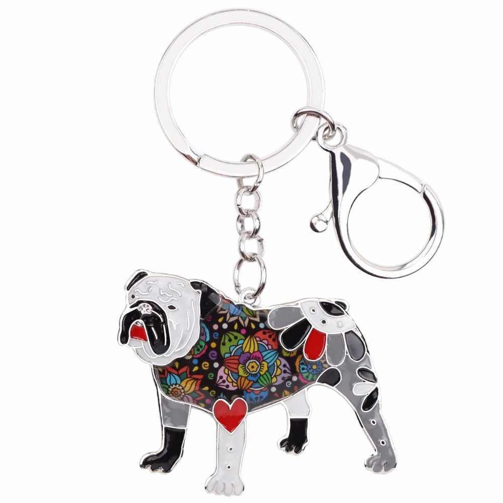 Bonsny esmalte inglês britânico bulldog bull terrier chaveiro chaveiro anel moda jóias para as meninas presente saco de carro pingente