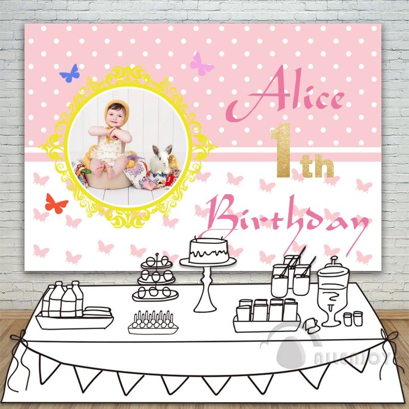Allenjoy filles toile de fond bébé douche 1st anniversaire Invitation fête rose papillon Table bannière photocall fond