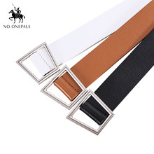 NO.ONEPAUL New Black White PU Leather Waist Belts for Women Jeans Pants A ladder-shaped buckle belt for male and female students(China)