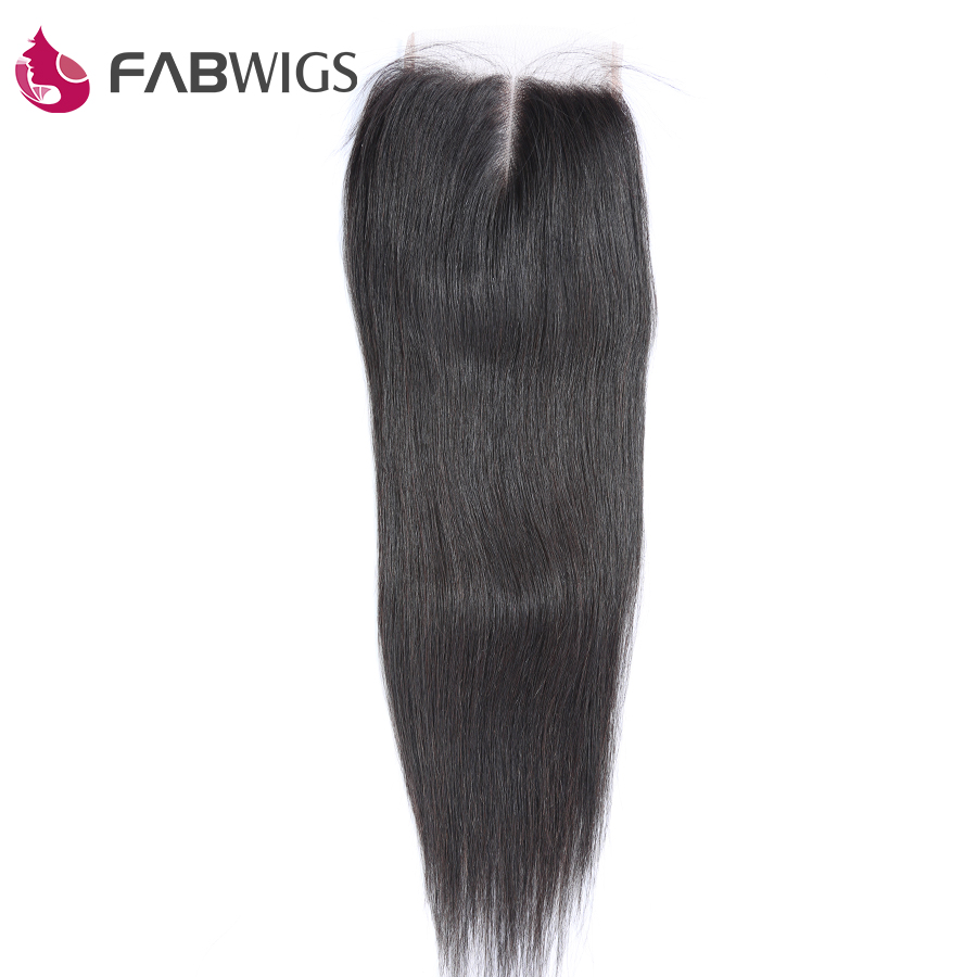 Fabwigs Peruvian Silky Straight 5x5 Lace Closure 100 Human Hair Closures Remy Hair Piece Free Shipping