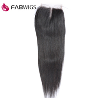 Fabwigs Peruvian 5x5 Silky Straight Lace Closure Middle Part 100 Human Hair Closure Remy Hair Piece