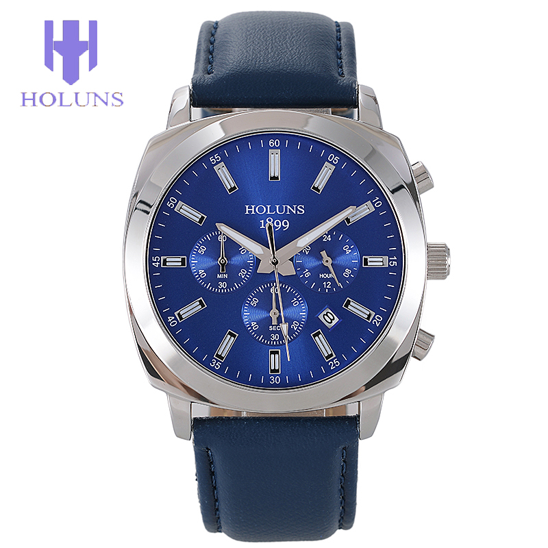 2017 New Arrival HOLUNS Quartz Watch Men Relogio Masculino Fashion Leather Band Waterproof Wristwatch Gift Clock Original Box luxury men quartz watch fashion tungsten band watch 50 meter waterproof gift casual clock male wristwatch clock relogio with box