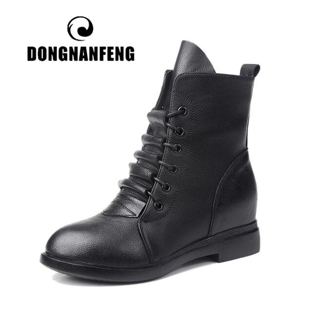 DONGNANFENG Phụ Nữ Mắt Cá Chân Phụ Nữ Mẹ Nữ Giày Boots Bò Da Chính Hãng Da Heo Sang Trọng Mùa Đông Lông Zip Ren Lên MXN-829-1