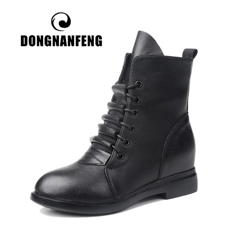 DONGNANFENG Women Ankle Mother Ladies Female Shoes Boots Cow Genuine Leather Pigskin Plush Winter Fur Zip Lace Up MXN-829-1DONGNANFENG Women Ankle Mother Ladies Female Shoes Boots Cow Genuine Leather Pigskin Plush Winter Fur Zip Lace Up MXN-829-1