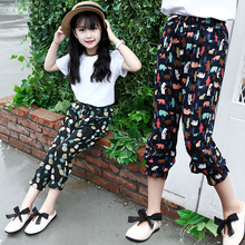 2018 Summer New Style Kids Girls Cute Floral Print Beach Pants Calf-length Anti-mosquito Trousers Harem 3-14Yrs