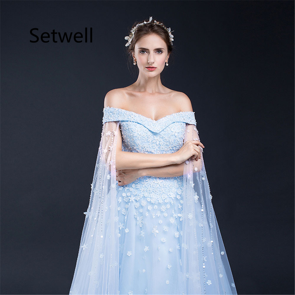 Setwell Unique Ball Gown Wedding Dress With Cape Sexy Off Shoulder Lace Up Back Dresses Floral Applique Dressin From: Unique Ball Gown Wedding Dresses At Reisefeber.org