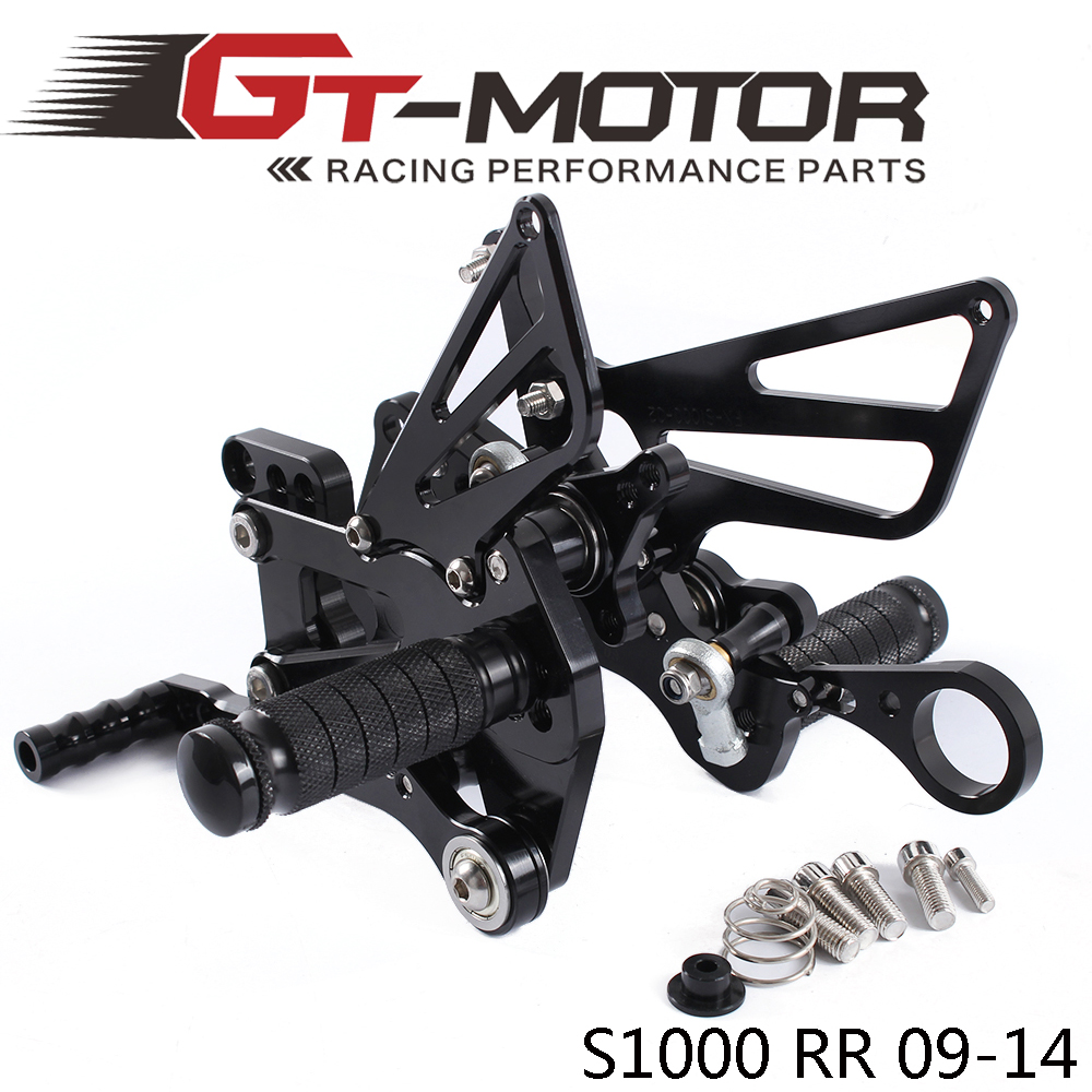 GT Motor Full CNC Aluminum Motorcycle Adjustable Rearsets Rear Sets Foot Pegs For BMW S1000RR 2009