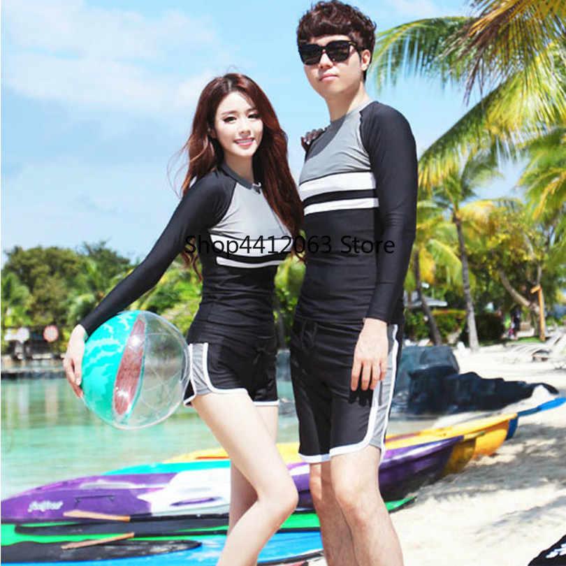 Пара сшивания купальный костюм рашгарды быстросохнущие костюмы для подводного плавания Гидрокостюмы короткие для мужчин и женщин серфинга с длинными рукавами водолазные костюмы