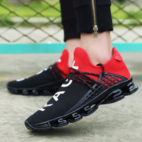 Men Sneakers 2018 New Hot Breathable Mesh Letter Men Running Shoes Mixed Colors Lace Up Shoes