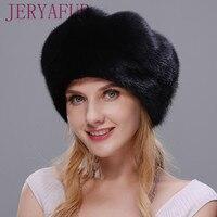 JERYAFUR 2017 Russian hat style cloak real mink fur hat black bare hat woman winter warm hat protection ear