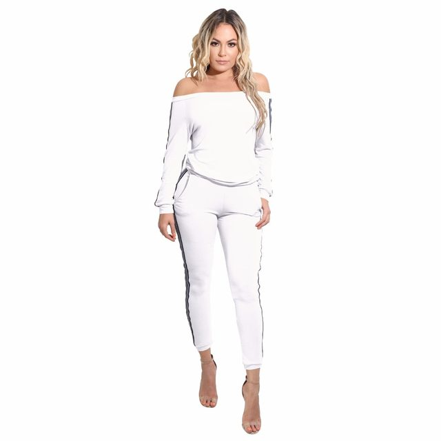 3cace0501be Autumn Two Piece Rompers Womens Jumpsuit Full Bodysuit White Black Striped  Slash Neck Outfits Sexy Skinny Long Sleeve Jumpsuit